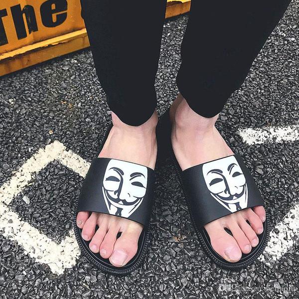 Mask Smiling face slippers Summer brand designer men slippers Wide Flat Slippery With Thick Sandals Slipper House outdoor beach flip-flops