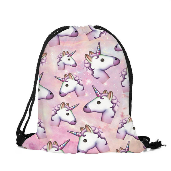 3D printing unicorn bag, boys and girls generic beam pocket drawstring backpack 18 color DHL free shipping