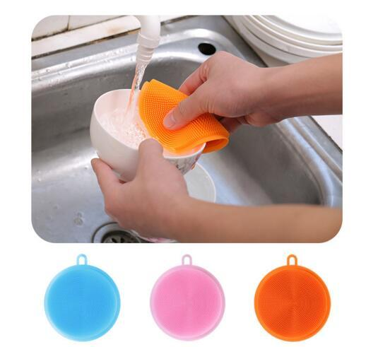 Round Silicone Dish Washing Brush Multi Function Food Class Vegetable Fruit Cleaning Tool Scouring Pad Kitchen Scrubber