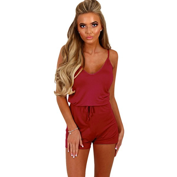 Sexy Women Sleeveless Playsuit Rompers V Neck Drawstring Waist Spaghetti Strap 5XL Plus Size Fitness Romper Slim Slip Jumpsuit