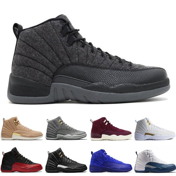 12 12s mens basketball shoes Wheat Dark Grey Bordeaux Flu Game The Master Taxi Playoffs Wolf Grey Gym Red Royal Blue Suede Sports sneakers