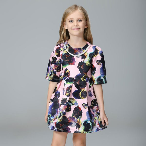 Girl's printing flowers great quality cotton dress with necklace baby girl summer clothing school children clothes