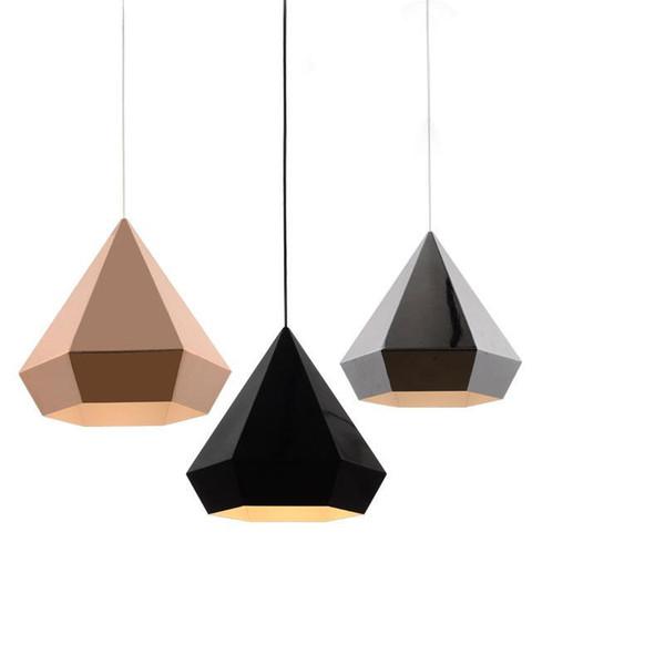 E27 LED Nordic Loft Pyramid Diamond chrome/copper/gold Pendant Lights Lamp American Minimalist Suspension Luminaire Dining Room Kitchen