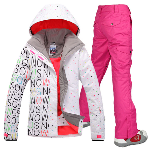 Gsou 스노우 여성용 스키 복 세트 -30degrees 화이트 레터드 자켓 및 스트랩 바지 겨울용 스키 의류 세트 Outerwear Thermal
