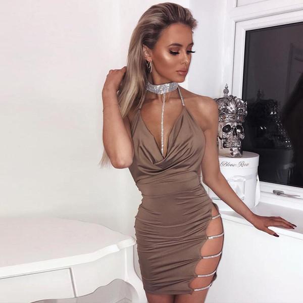 Diamanti sexy condole cavezza cavezza party dress donne plus size estate nuovo backless lacciolo prom club matita pista vestito