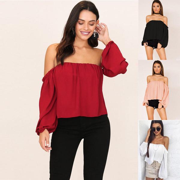3f1009446e Mulheres fora do ombro solto blusa sem alças de verão casual tops manga  longa casual mulheres roupas blusas