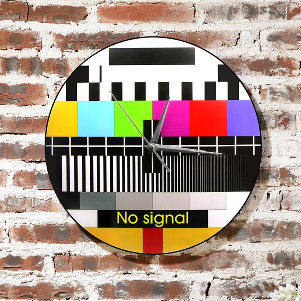 1Piece Retro TV Color Test Screen Wall Clock Modern Wall Art Decoration Background Adjustment Signal No Signal TV Clock