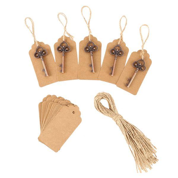 50 unids recuerdos de boda esqueleto abrebotellas + etiquetas favores y regalos de boda de la vendimia para la decoración del partido de invitados favorece la caja