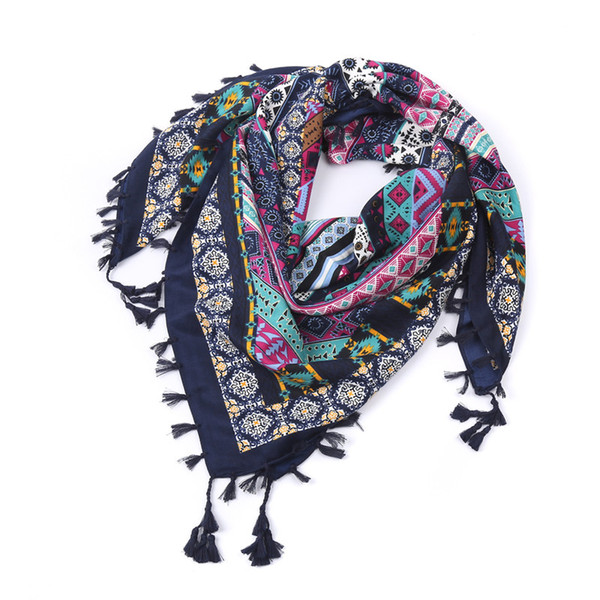 Women Cotton and Linen Retro Geometric Shawl Scarf Tassel Summer 2018 Fashion female Stoles Totem tmagic Scarves