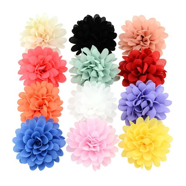 12 Colors Boutique Kids Headband Lotus Hair Clip handmade Satin Flower For Girls DIY Headdress Floral Hair Accessories 729