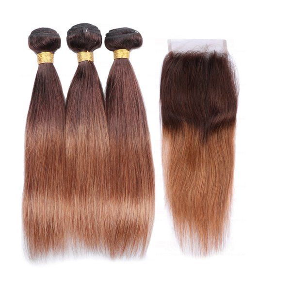 Ombre Bundles With Closure T4/30 Indian Straight Virgin Human Hair Bundle Weaves With Lace Closure 4pcs Lot Two Tone Double Weft Extensions