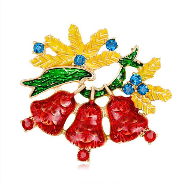 New Silver Gold Alloy Yellow Green Enamel Leaf 3 Red Bell Pin Brooches For Women AAA Blue Zircon Christmas Brooch Clothes Accessories