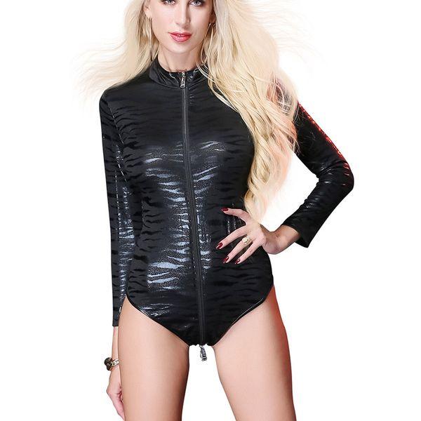 Sexy Women Long Sleeves PVC Latex Catsuit Black Faux Leather Bodysuit Crotch Zipper Women Jumpsuit Costumes Game Uniforms