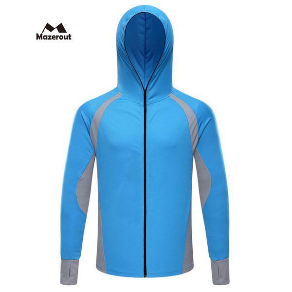 MAZEROUT 2017 Man New Summer Fishing Hiking Trekking Camping Breathable Quick Dry Hoodie T-Shirt Travel Running Sweatshirt J58