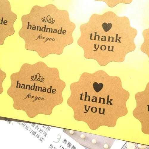 Wholesale-10 Sheets (80PCS) DIY Thank You Love and Hand Made Self-adhesive Stickers Kraft Labels 4CM For Hand Made Gift Baking Paper Tag