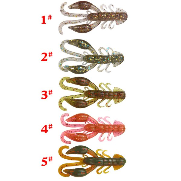5 Pcs/lot 5 Colors 50mm 2.1g High Quality Fake Baits Soft Silicone Artificial Lobster Crawfish Shrimp Fishing Lure For Bass