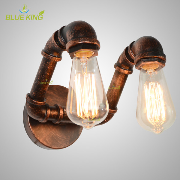 Vintage Water Pipe Wall Lamp American Country Industrial Style RH Loft 2 Heads Wall Sconce Vintage Rustic Iron Art Lustre wall light