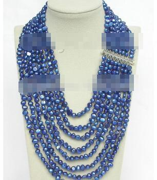 """free shipping 17""""-24"""" 8row baroque navy blue pearls necklace 925 silver clasp"""