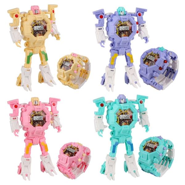 Robot cambiable para el reloj Toy Kid Transformación manual Juguetes electrónicos Reloj deformado Regalos de juguete para niños Bebé