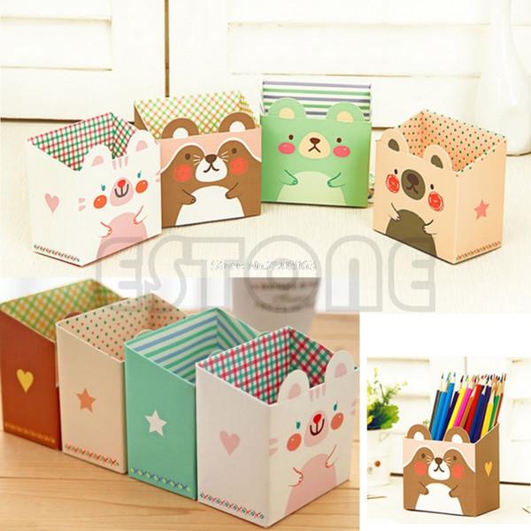 Cute Cat Desk Organizer Cartoon Paper Stationery Maquillaje Caja de almacenamiento cosmética DIY