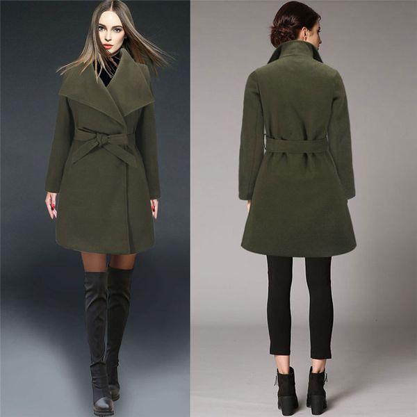 Femmes Trench Coat Angleterre 2018 Automne Hiver Longueur moyenne Korean Street Plus Size Matchin Jupe Type Warm Woolen Outwear