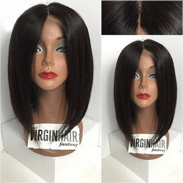 Hot Selling Short Bob Lace Front Wigs Silky Straight Brazilian Human Hair Full Lace Wigs Middle Part Glueless Short Wigs For Black Women