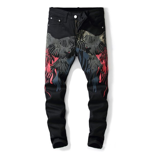 European American Style 2018 fashion mens black print jeans luxury Men slim denim trousers Slim Pants black jeans for men