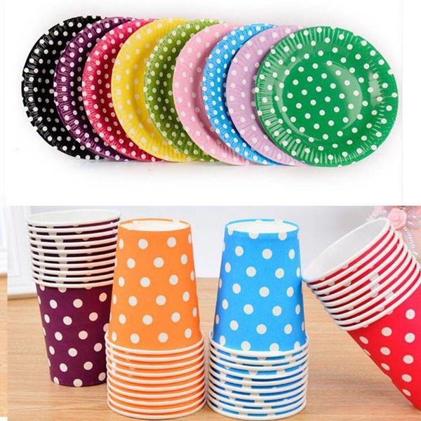 Piatti di carta rotondi a pois multicolore Round Paper Paper Cup stoviglie monouso per bambini Birthday Party Wedding Food Grade Party Supplies