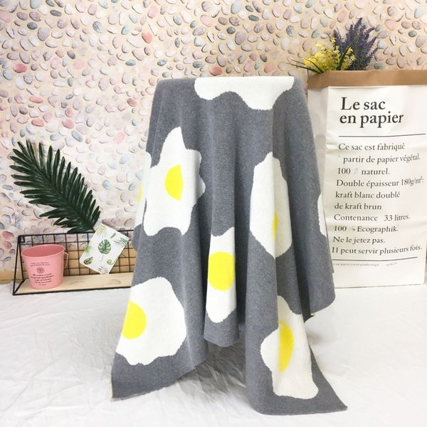 mylb Ins2018 fried eggs knitted jacquard quilt fashion baby cotton blanket adults children lunch break blanket air conditioning