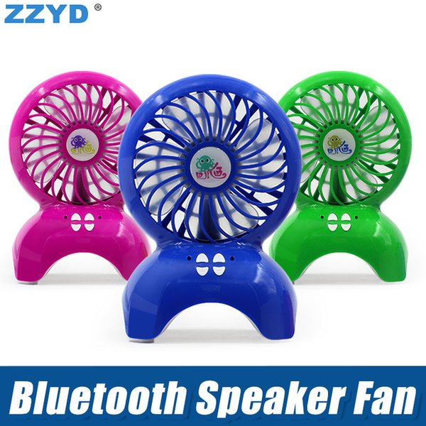 ZZYD Bluetooth Speaeker Fan Portable Wireless Speakers TF card Outdoor Mini Fan Stereo Music Cooler for iP 7 8 X SamsungS8 Any Phone