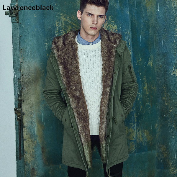 Lawrenceblack 2017 Winter Jacket Padded Hooded Parkas Men Thick Warm Fur Men Wadded Overcoat Casual Fleece Down Parkas Man 824