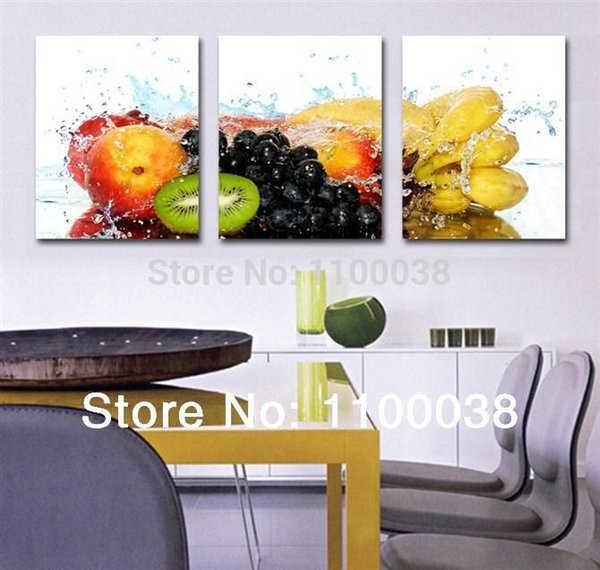 Wholesale-3 piece oil painting art pictures,fruits paintings on the canvas for dinner room or kitchen ,print modern landscape wall picture