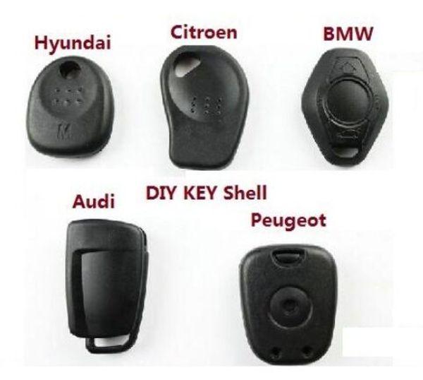 Best Quality 5pcs/lot Universal Car key Shell For Audi/BMW/Hyundai/Citroen/Peugeot key handle shell DIY fixed without Key blade