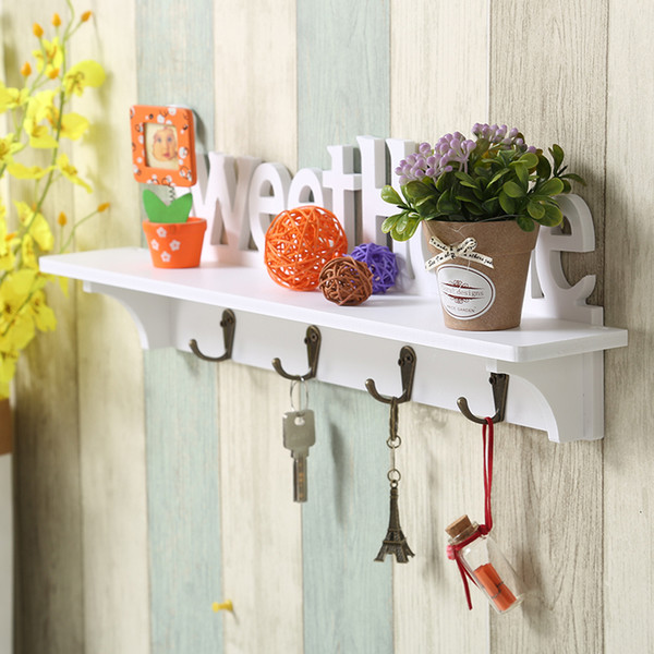 Creative Coat Rack Wall Decorative Hooks Wooden Hat Key Clothes Hook Wall Shelf Hanger Wall-mounted Shelf Home Decoration Racks