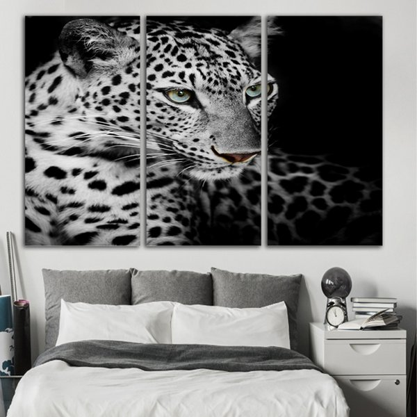 Wall Art Modular Poster Home Decor 3 Panel Gray Leopard Animal Frame HD Printed Modern Canvas Living Room Pictures Painting