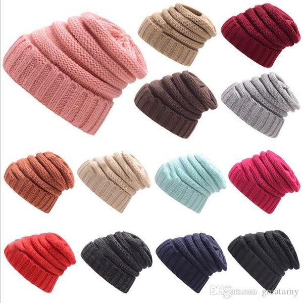 Women hats Wool Beanie Winter Knitted Hats Warm Hedging Skull Caps Hand Crochet Caps Hats 17 colors