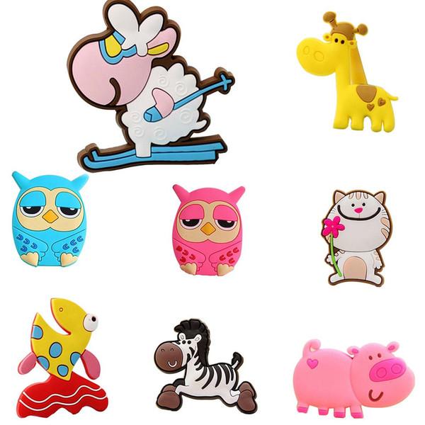 10pcs/lot Creative Giraffe Owl Cat Pig Fish Sheep Fridge Magnets for Kids Small Size Silicon Gel Magnetic fridge Magnet Animal Magnets