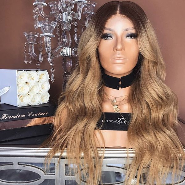 Cheap new beauty 100% unprocessed raw virgin remy human hair long ombre color kinky straight full lace cap wig for women