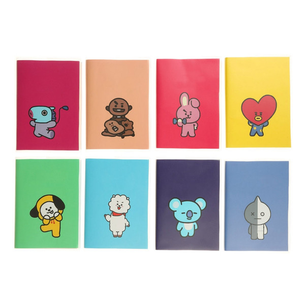 1 Pcs Hot Sale Kpop BTS official Korean Stars JIMIN V Cartoon NotBangtan Boys PVC Cover Diary Travel Journal Book