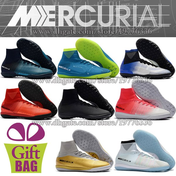 Original Mens Indoor Soccer Shoes High Ankle Turf Soccer Cleats Socks Mercurial Superfly CR7 IC TF Neymar Football Boots MercurialX Proximo
