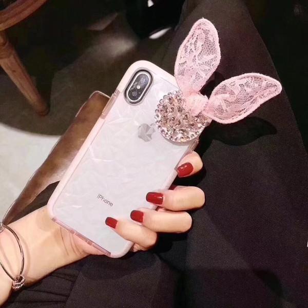 For Huawei p10 p20 lite plus pro Cute diamond stand bracket lace rabbit ear soft 3D phone case cover