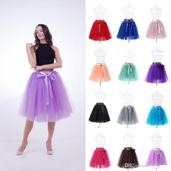 6 Capas 50 cm Moda Midi Falda de Tul Plisada TUTU Faldas Mujeres de Novia de Novia de dama de honor Enagua Faldas CPA1002