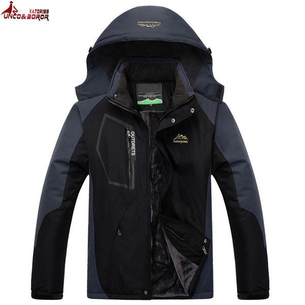 UNCO&BOROR plus size L~7XL 8XL Winter Jacket Men Thick Velvet Warm Coat Thermal Windproof waterproof male military hooded parka D18101001