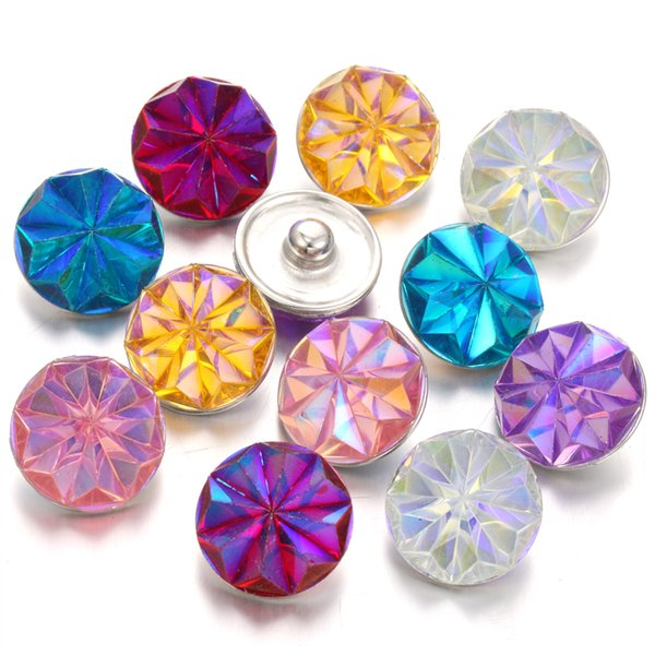 Interchangeable Jewelry Noosa Chunks Mixed Resin 18mm Snap Button DIY Charms Fit Metal Snap Button Bracelet Bangles Jewelry
