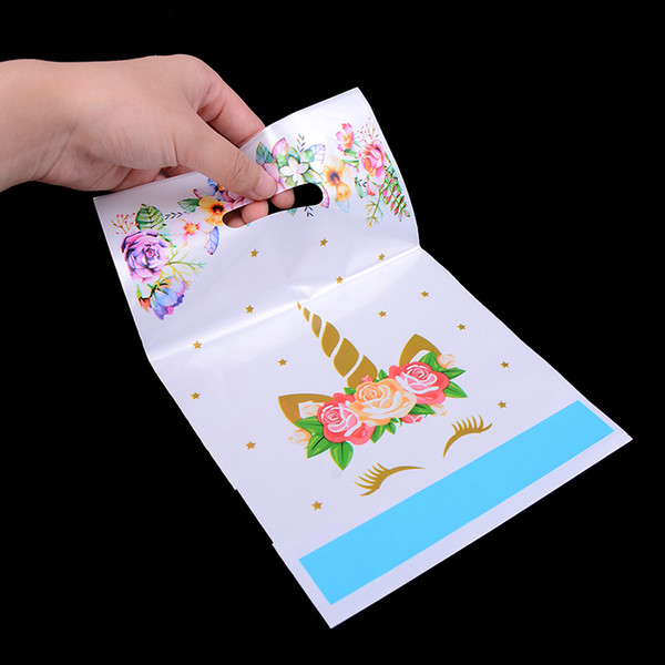 10pcs/lot Plastic Gifts Bags Baby Shower Decoration Flower Unicorn Theme Kids Girls Favors Loot Bags Birthday Party Supplies