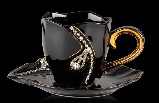 2 set / lote fundo sem logotipo 200 ml Banhado A Ouro Cerâmica Osso China Coffee Cup Set + colher