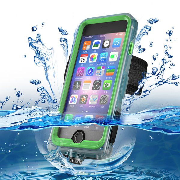 For iPhone 7/8 6/6s Plus Waterproof Phone Case Dust Prevention Scratchproof Phone Cover Armband Kickstand Phone Holder Retail Package