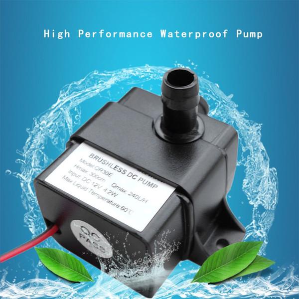 Mini Water Pump DC 12V 4.2W 240L/H Flow Rate Waterproof Brushless Pump Mini Submersible Water Pump QR30E