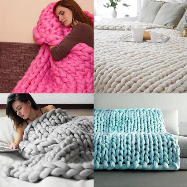 Super Macio Linha grossa Fio Gigante De Malha Cobertor Mão Tecelagem Fotografia Props Cobertores CrochetLlinen De Lã De Tricô Cobertores