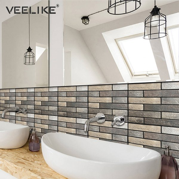 3D Brick Stone Kitchen Backsplash Tile Peel and Stick PVC Self Adhesive Wallpaper for Bathroom Living Room Home Decor Wall Paper